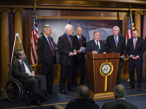 """This is the best chance in a generation to reform our federal drug sentencing law,"" Sen. Richard Durbin (center) said Thursday. He and other lawmakers held a news conference about proposed criminal sentencing reform legislation."