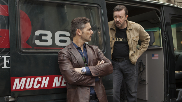 Eric Bana and Ricky Gervais play an unethical radio journalist and his engineer in Special Correspondents. (Netflix)