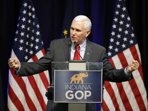 Indiana Gov. Mike Pence speaks during the Indiana Republican Party Spring Dinner Thursday, April 21, 2016, in Indianapolis.