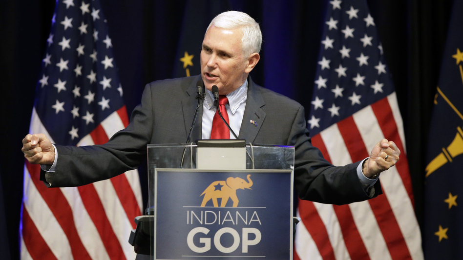 Indiana Gov. Mike Pence speaks during the Indiana Republican Party Spring Dinner last week in Indianapolis. (Darron Cummings/AP)