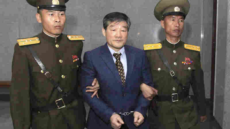 U.S. citizen Kim Dong-chul, seen here arriving at court Friday, was sentenced to hard labor for what North Korea says were acts of espionage.