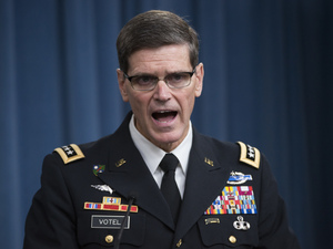 Army Gen. Joseph Votel, commander of U.S. Central Command, briefs reporters on the release of the investigation into the U.S. airstrikes on the Doctors With Borders trauma center in Kunduz, Afghanistan.