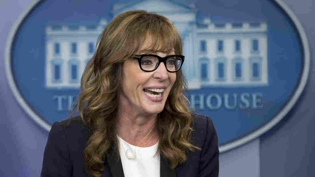 Actress Allison Janney makes a surprise visit to the the daily news briefing at the White House on Friday.
