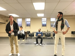 "Former Marine Tom Burke (L) and Maher Mahmood (R) and Iraqi refugee rehearse for the play ""Voices From Teh Long War"" at the Yale Cabaret building on the Yale campus."