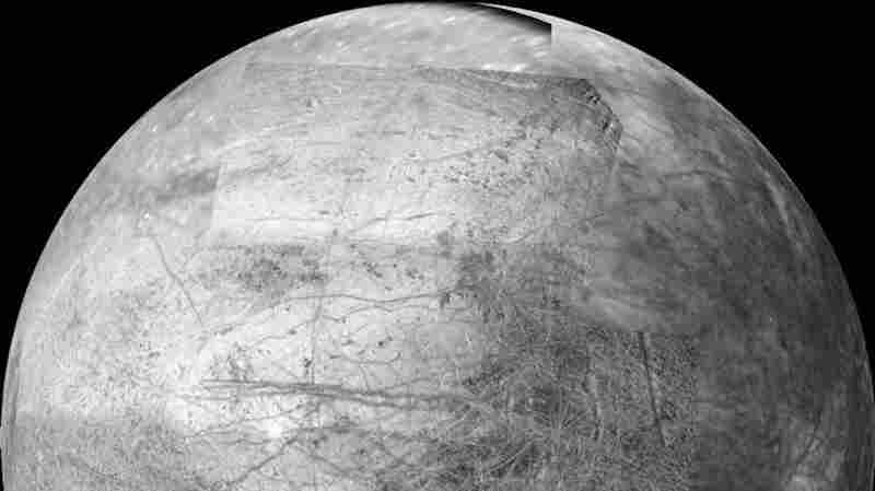 The side of Jupiter's moon Europa that faces the giant planet.