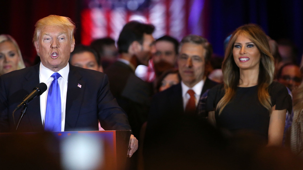 """After sweeping five states Tuesday, Donald Trump suggested Hillary Clinton is ahead because she's playing the """"woman's card."""" (Getty Images)"""