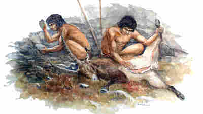 Neanderthal hunters cutting up their kill.