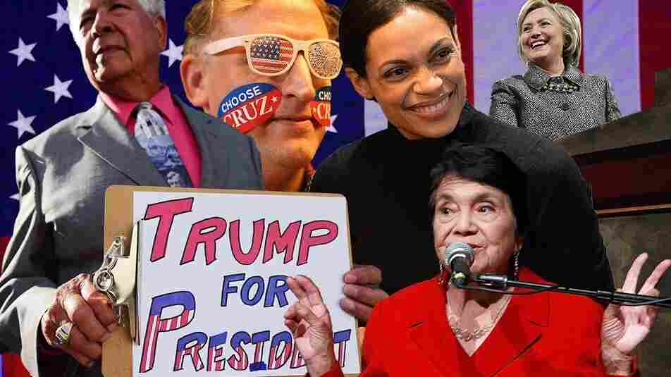 American Flag (Credit: KENA BETANCUR/AFP/Getty Images); Trump for President: (ROBYN BECK/AFP/Getty Images); Choose Cruz (Joe Raedle/Getty Images); Rosario Dawson: (Slaven Vlasic/Getty Images); Dolores Huerta: (Todd Oren/Getty Images for NWHM; Hillary Clinton (Justin Sullivan/Getty Images)