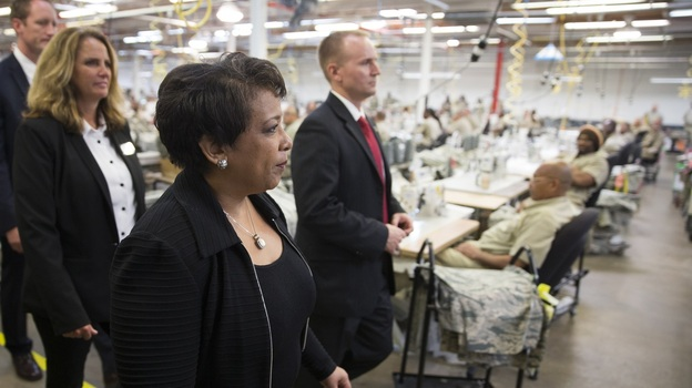 Attorney General Loretta Lynch tours a factory where inmates work at the Talladega Federal Correctional Institution in Talladega, Ala. on April 29, 2016. (AP)
