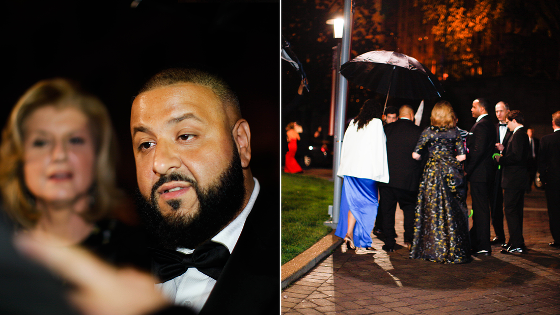 DJ Khaled and Arianna Huffington chatting with fans (L) and leaving the 102nd White House Correspondents' Association Dinner (R) on Saturday, April 30th in Washington, DC.