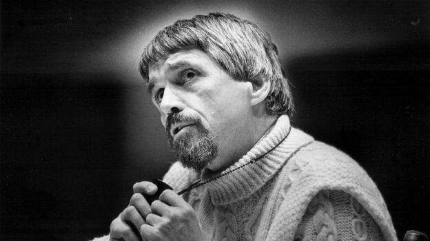 Daniel Berrigan speaks in Colorado in 1974. (Denver Post via Getty Images)