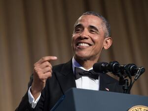 President Barack Obama speaks at the 102nd White House Correspondents' Association Dinner on Saturday.
