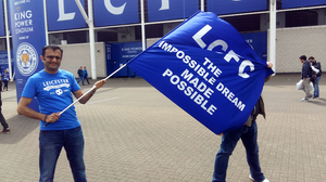 Fans gather at the home stadium of the Leicester City Football Club. Sunday's game was an away game in Manchester, but thousands of fans gathered at the home stadium to watch the game on huge screens inside.