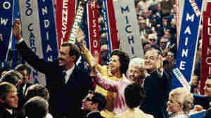 Vice President Hubert Humphrey (right) and his running mate, Sen. Edmund S. Muskie, wave to the crowd with their wives at the Democratic Convention in Chicago on Aug. 29, 1968. Violence ensued inside and outside the convention hall.