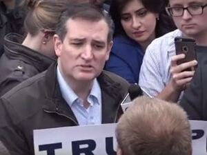 While campaigning in Indiana, Texas Sen. Ted Cruz came face to face with a protester who supports his rival Donald Trump.