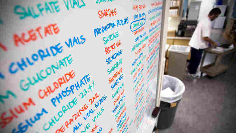 A white board showed the drugs in short supply at the University of Utah Hospital in Salt Lake City in 2011.