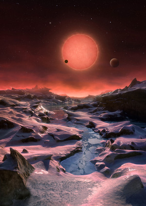 The three planets depicted in this rendering have sizes and temperatures similar to those of Venus and Earth. They were discovered using the TRAPPIST telescope at the La Silla Observatory in Chile.