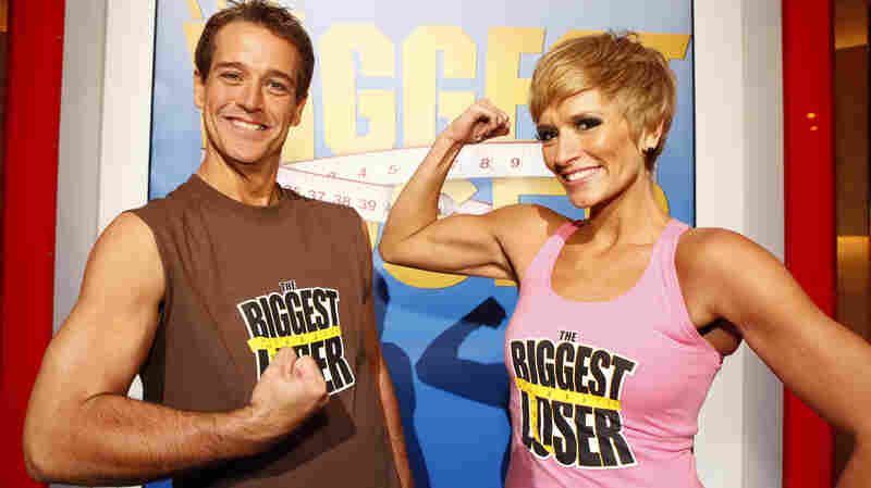 Danny Cahill (left) won Season 8 of The Biggest Loser in 2009 by losing an amazing 239 pounds. He's pictured with at-home prize winner Rebecca Meyer. In the years since, Cahill has put back on more than 100 pounds, he told The New York Times.
