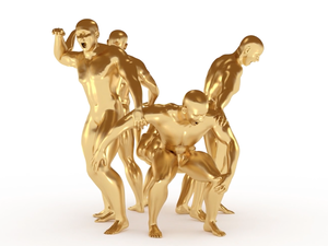 "A group of gold-plated statues sings together in a scene from the new video from Adult Jazz, for the song ""Earrings Off!"""