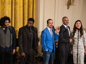 Hamilton got more Tony nominations than either The Producers or Billy Elliot did in their respective years. Here, Broadway cast members including the show's creator and star, Lin-Manuel Miranda (in blue), performed at the White House last month.