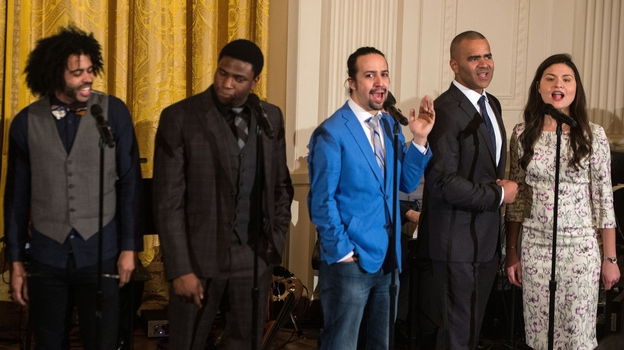 Hamilton got more Tony nominations than either The Producers or Billy Elliot did in their respective years. Here, Broadway cast members including the show's creator and star, Lin-Manuel Miranda (in blue), performed at the White House last month. (AFP/Getty Images)
