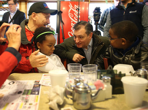 Republican Ted Cruz makes a campaign stop at the Bravo Cafe Monday in Osceola, Ind. The Hoosier State might be Cruz's last chance to stop Donald Trump from getting the nomination.