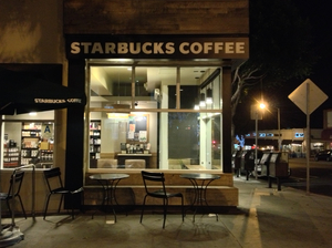 A Starbucks coffee in Santa Monica, Calif. With no other place to go, many of Los Angeles' homeless end up at the chain's outlets — to the consternation of some employees.