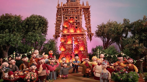 "Villagers burn a large figure made of wood in a scene from Radiohead's new animated video for the song ""Burn The Witch."""