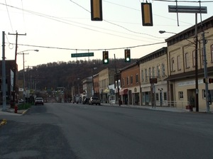 Empty storefronts line the streets of Northern Cambria, Pa., Jennifer Haigh's home town.