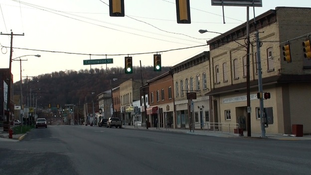 Empty storefronts line the streets of Northern Cambria, Pa., Jennifer Haigh's hometown. (Rob Arnold)