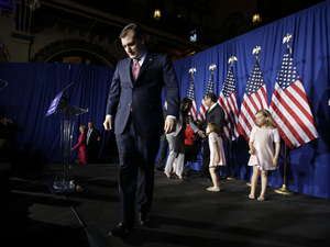 Republican presidential candidate, Sen. Ted Cruz, R-Texas, walks off the stage following a primary night campaign event, Tuesday, May 3, 2016, in Indianapolis. Cruz suspended his campaign as results rolled in Tuesday.