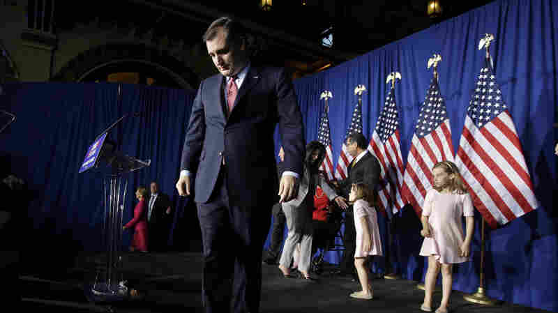 Republican presidential candidate Ted Cruz walks off the stage following a primary night campaign event Tuesday in Indianapolis.
