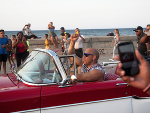 Actor Vin Diesel drives a vintage American car next to actress Michelle Rodriguez while shooting the latest installment of the Fast and Furious movie franchise in Havana, Cuba on April 28. Fast and Furious 8 is the second U.S. movie, and the first big-budget Hollywood film, to be shot in Havana since relations began improving between the two countries.