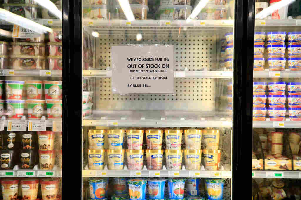 Shelves are bare and signs are posted where Blue Bell products were displayed in a grocery store in April 2015 in Overland Park, Kan. Blue Bell Creameries recalled all of its ice cream products following a listeria outbreak.