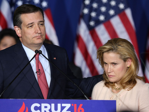 Sen. Ted Cruz (R-TX) suspended his presidential campaign last night, as his wife, Heidi, looks on in Indianapolis, Indiana.