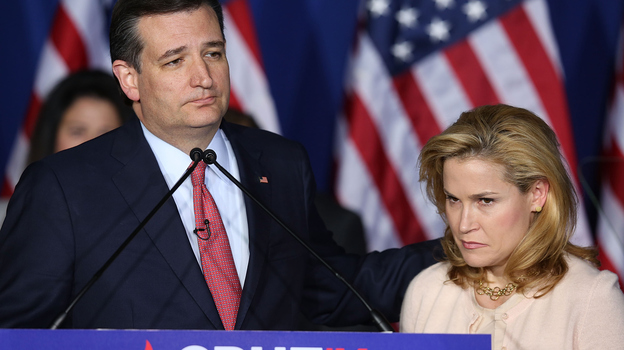 Sen. Ted Cruz (R-TX) suspended his presidential campaign last night, as his wife, Heidi, looks on in Indianapolis, Indiana. (Getty Images)