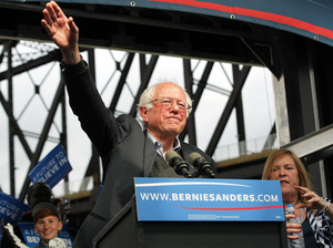 Democratic presidential candidate Bernie Sanders waves to the crowd after arriving at a campaign rally at the Big Four Lawn Park May 3, 2016 in Louisville, Kentucky.