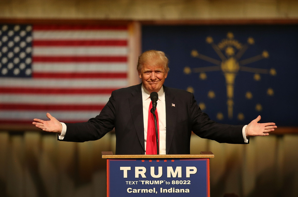 Donald Trump speaks during a campaign stop in Carmel, Ind., on Monday. (Joe Raedle/Getty Images)
