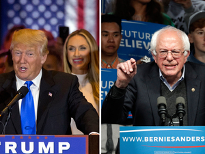(Left) Donald Trump speaks during a primary night news conference on Tuesday in New York City. (Right) Bernie Sanders speaks during a campaign rally in Louisville, Ky., on Tuesday.