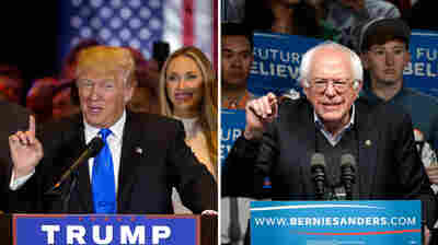 Donald Trump speaks during a news conference on Tuesday in New York City. At right, Bernie Sanders speaks during a campaign rally in Louisville, Ky.