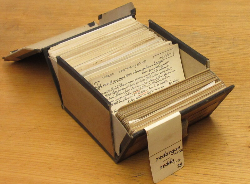 """Each one of these small boxes contains more than 1,000 references to a particular Latin word. Scholars made these notes more than 100 years ago. In this case, the box contains notes for two words, redargua, which means """"stopped"""" and reddo, which has several meanings, including """"return"""" and """"restore."""""""