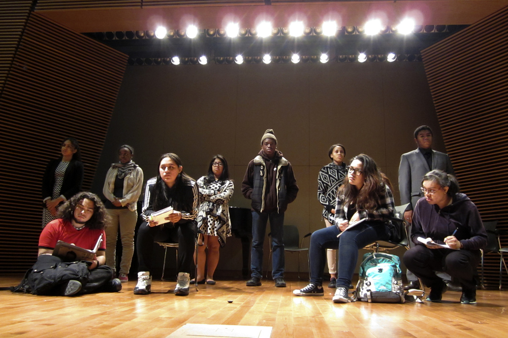 The 17 students who wrote and perform in the play are members of the Epic Theater Ensemble, a group that helps teens create their own plays with a social justice theme.