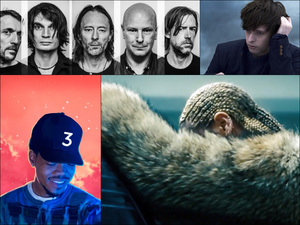 Clockwise from upper left: Radiohead, James Blake, Beyoncé, Chance The Rapper