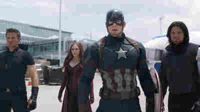 Hawkeye/Clint Barton (Jeremy Renner), Scarlet Witch/Wanda Maximoff (Elizabeth Olsen), Captain America/Steve Rogers (Chris Evans), and Winter Soldier/Bucky Barnes in Captain America: Civil War.