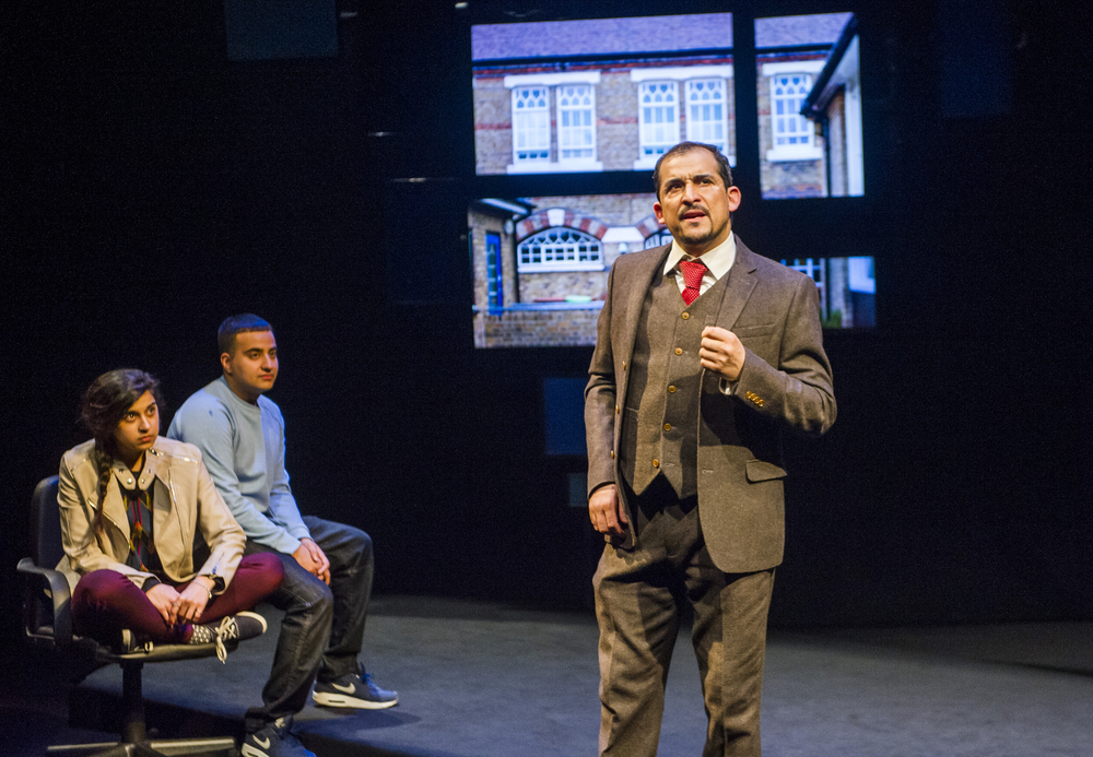 Actor Nabil Elouahabi (right) plays a lawyer working with radicalized youth in the London production of Another World: Losing Our Children to Islamic State, which closes Saturday at the National Theatre.