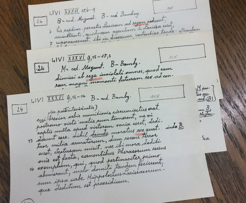 A sample of the note cards the scholars are using to assemble the comprehensive Latin dictionary.
