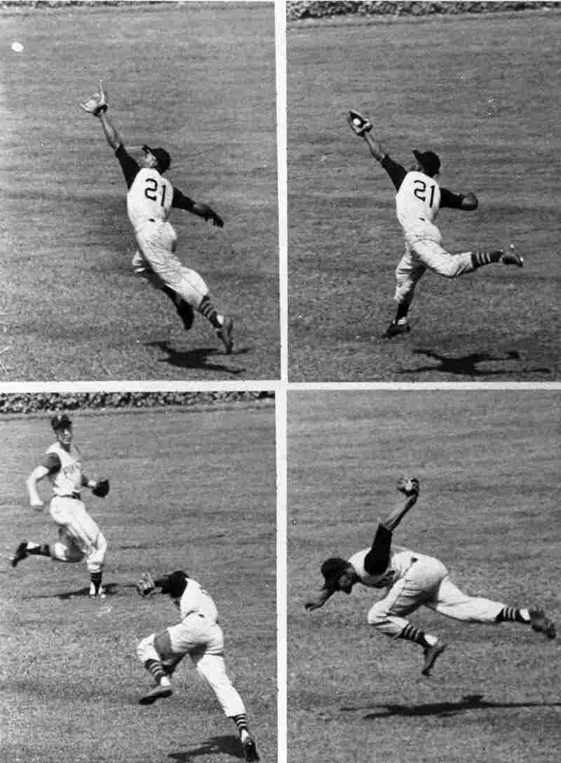This series shows Pittsburgh Pirates' right fielder Roberto Clemente making a sensational backhanded catch of a long drive by Bobby Thomson of the Cubs in 1958. The Puerto Rico series was intended to honor Clemente, a Hall of Fame player.
