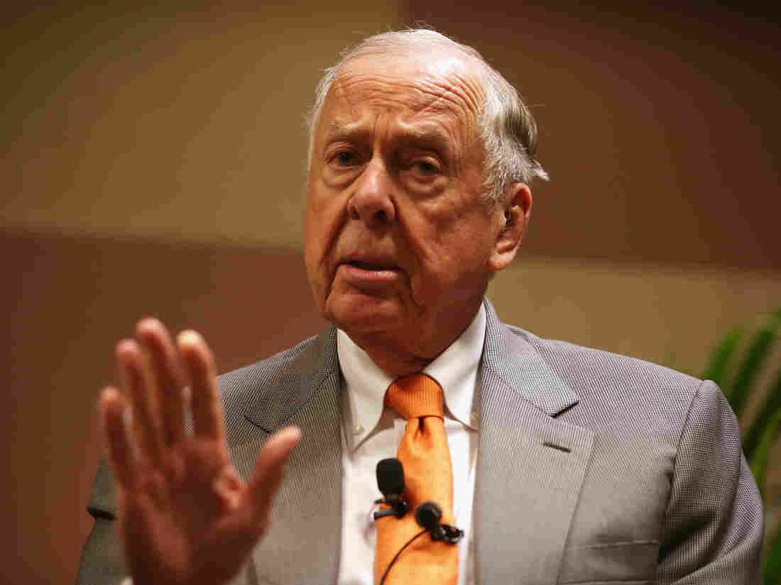 "T. Boone Pickens, founder and chairman of BP Capital Management, participates in a discussion during a ""birthday bash"" last year in Oklahoma City."
