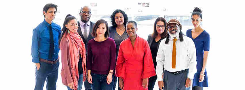 From left to right: Adrian Florido, Shereen Marisol Meraji, Gene Demby, Kat Chow, Tasneem Raja, Alicia Montgomery, Karen Grigbsy Bates, Walter Ray Watson, Leah Donnella