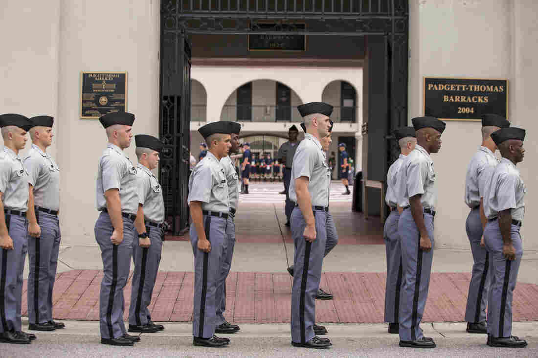 Citadel freshmen cadets drill for the first time in their new uniforms in 2013 in Charleston, S.C. The school says it will not allow a prospective student to wear hijab because it would break uniform.